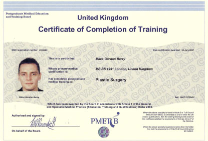 Cosmetic Surgeon Mr Miles G Berry CCT qualifitcation